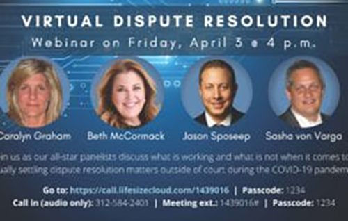 A Virtual Dispute Resolution Webinar on April 3rd